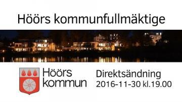 Höörs kommunfullmäktige, 30 november 2016